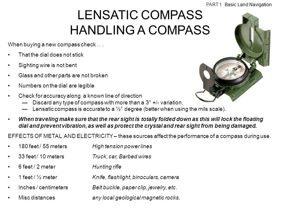 LENSATIC COMPASS HANDLING A COMPASS