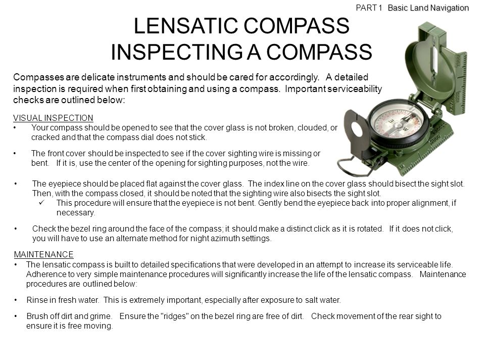LENSATIC COMPASS INSPECTING A COMPASS