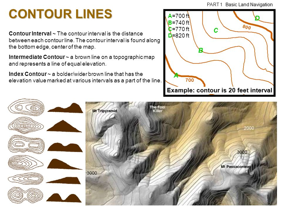 CONTOUR LINES Example: contour is 20 feet interval A=700 ft B=740 ft