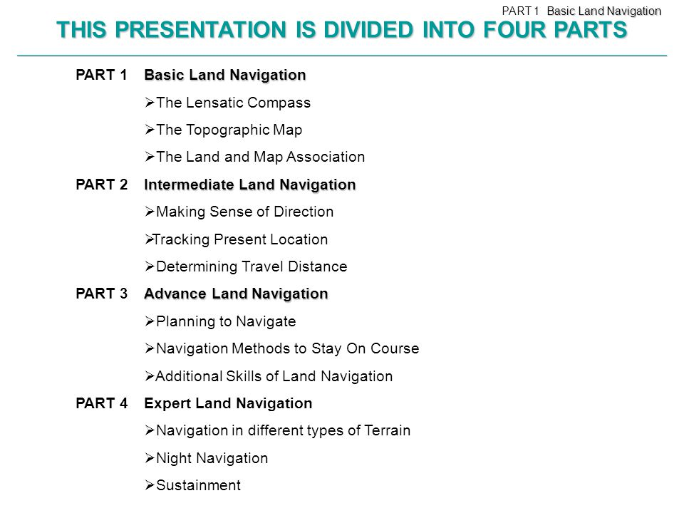 THIS PRESENTATION IS DIVIDED INTO FOUR PARTS