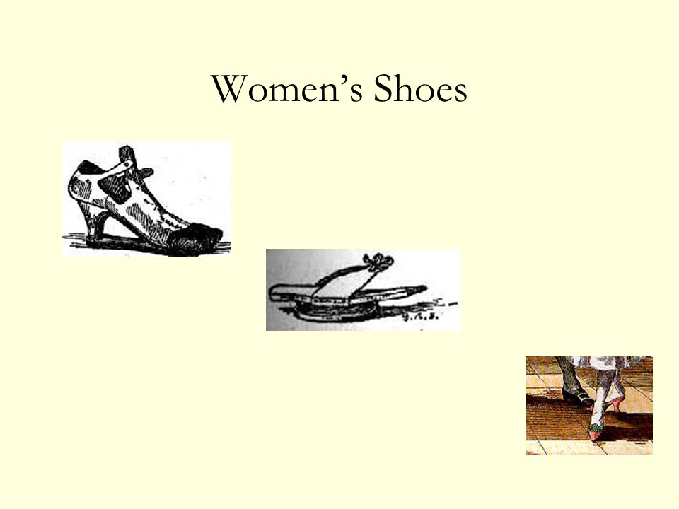 Women's Shoes (l to r) clog, patten (ring), mules