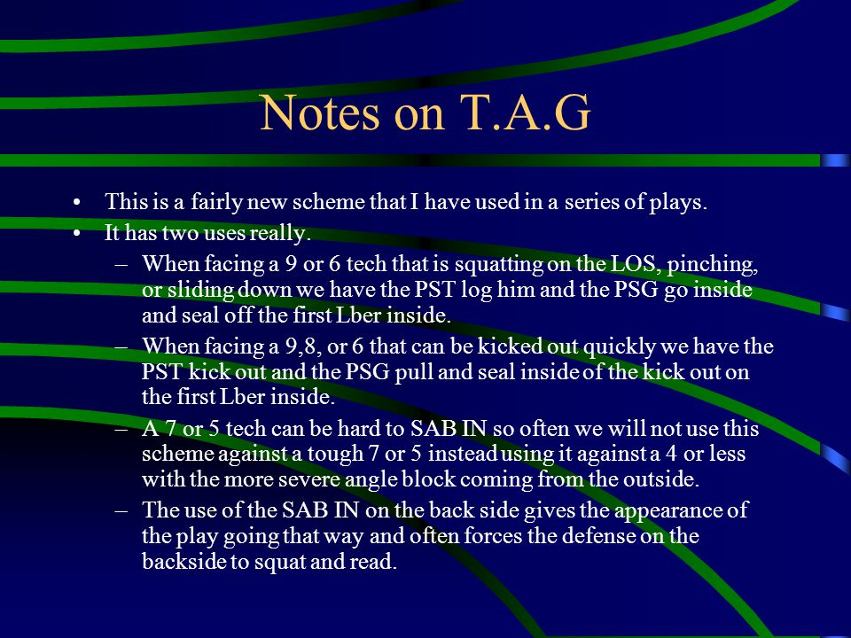 Notes on T.A.G This is a fairly new scheme that I have used in a series of plays. It has two uses really.