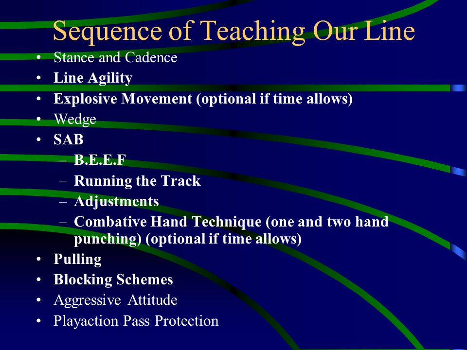 Sequence of Teaching Our Line