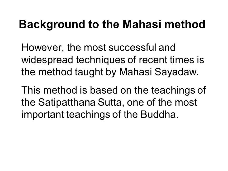 Background to the Mahasi method