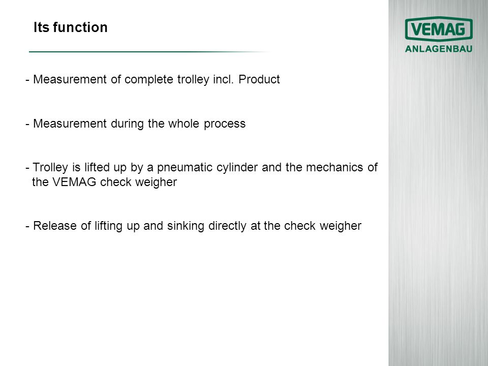 Its function - Measurement of complete trolley incl. Product