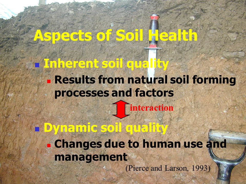Aspects of Soil Health Inherent soil quality Dynamic soil quality