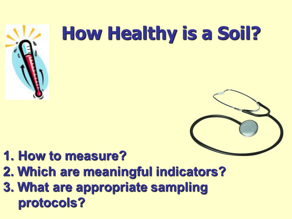 How Healthy is a Soil. How to measure. 2. Which are meaningful indicators.