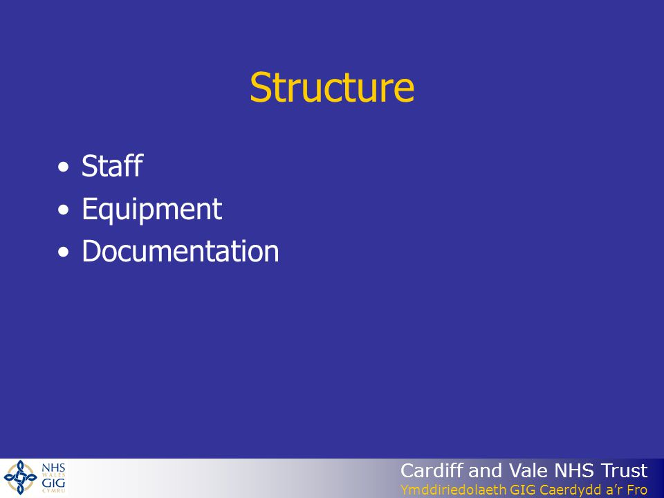 Structure Staff Equipment Documentation
