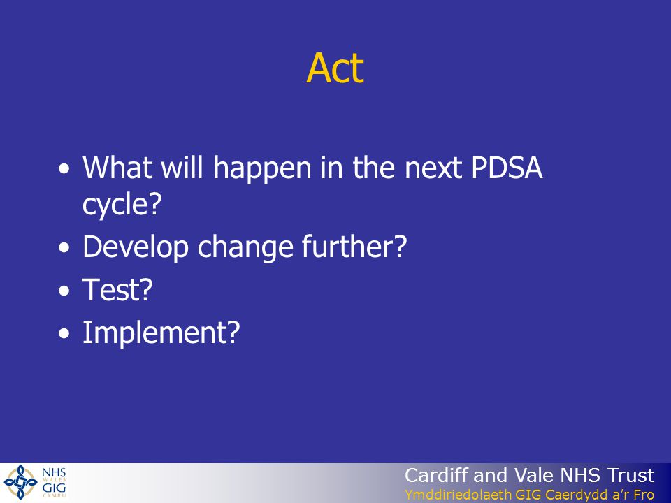 Act What will happen in the next PDSA cycle Develop change further