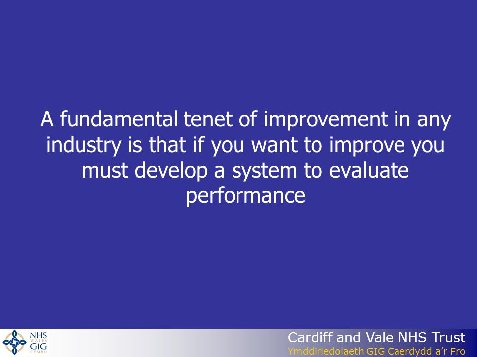 A fundamental tenet of improvement in any industry is that if you want to improve you must develop a system to evaluate performance