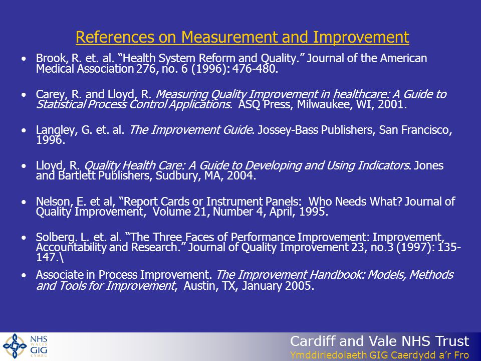 References on Measurement and Improvement