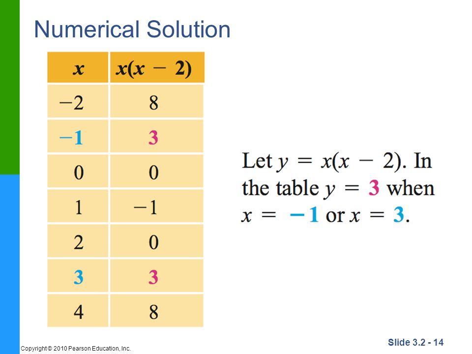 Numerical Solution Copyright © 2010 Pearson Education, Inc.