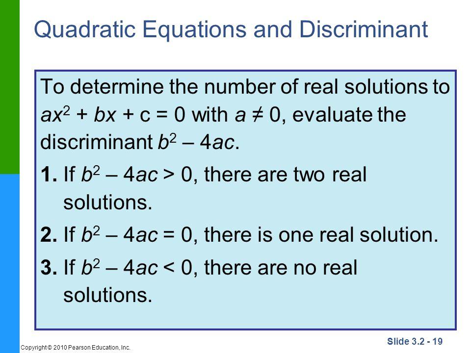 Quadratic Equations and Discriminant
