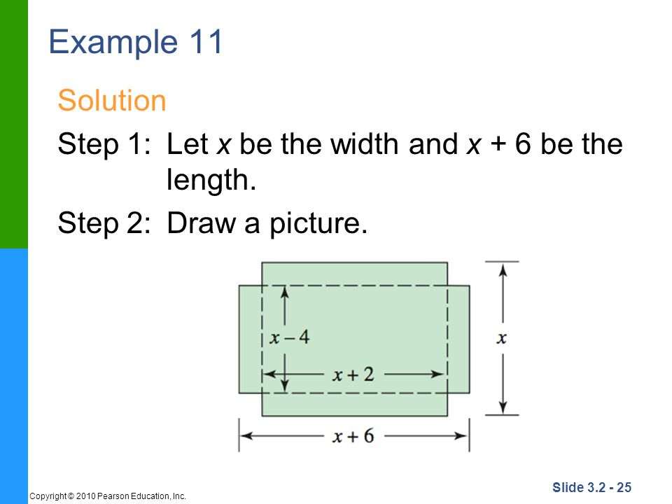 Example 11 Solution. Step 1: Let x be the width and x + 6 be the length.