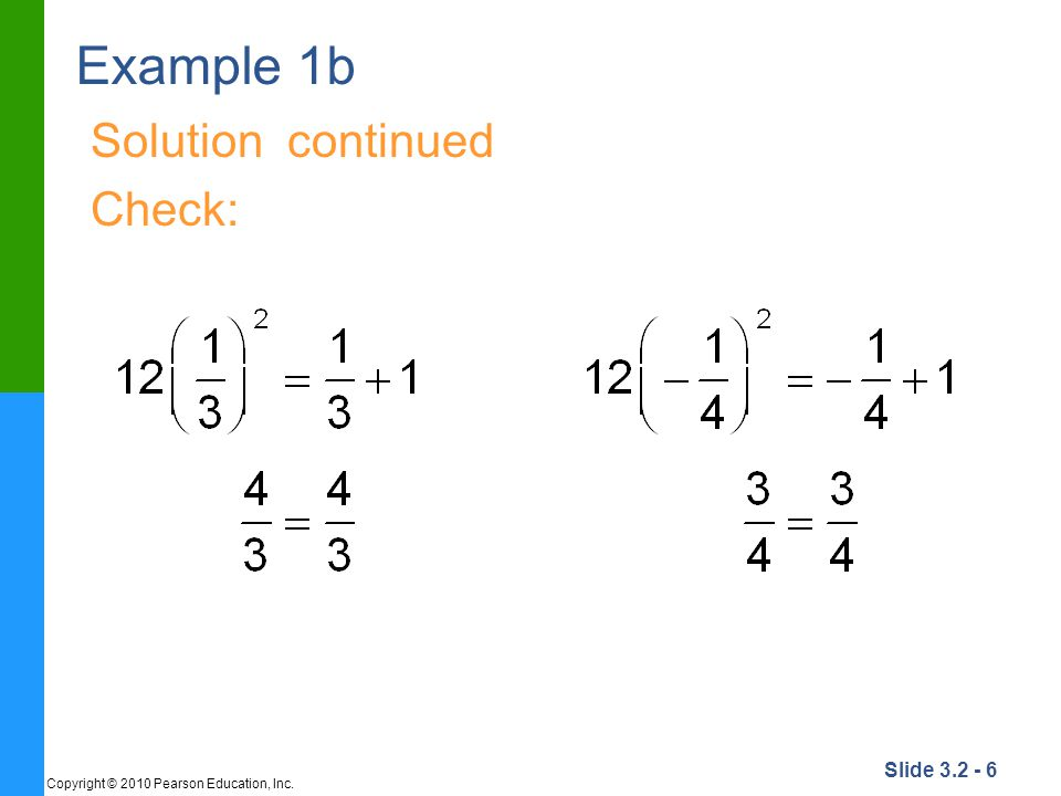 Example 1b Solution continued Check: