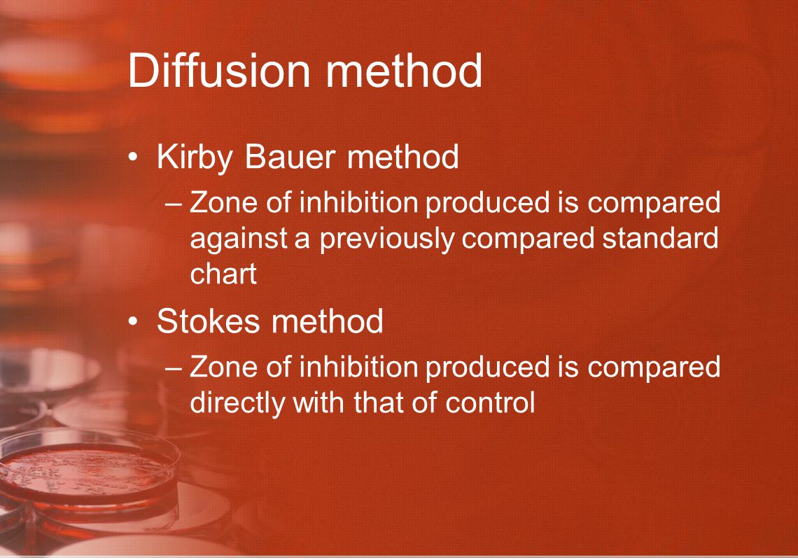 Diffusion method Kirby Bauer method Stokes method