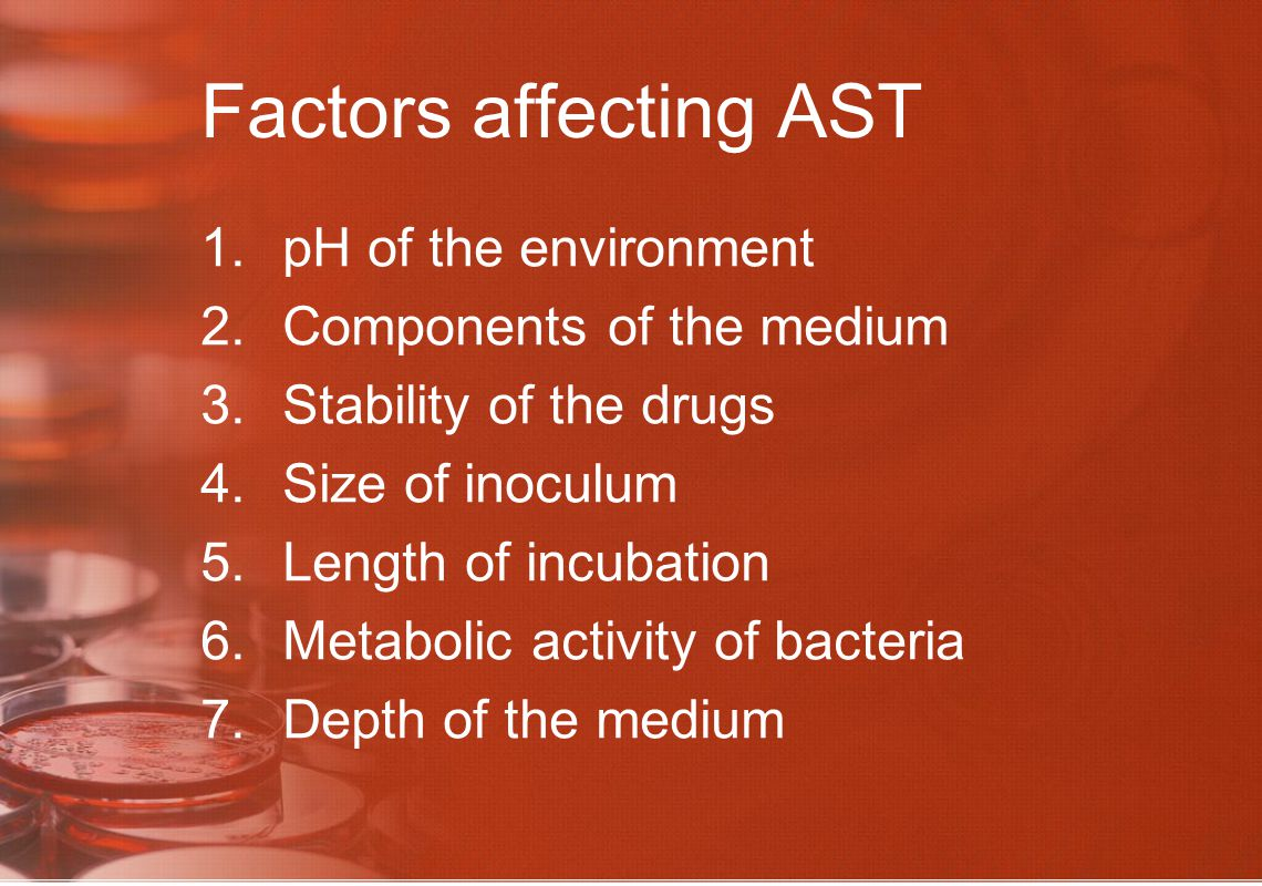Factors affecting AST pH of the environment Components of the medium