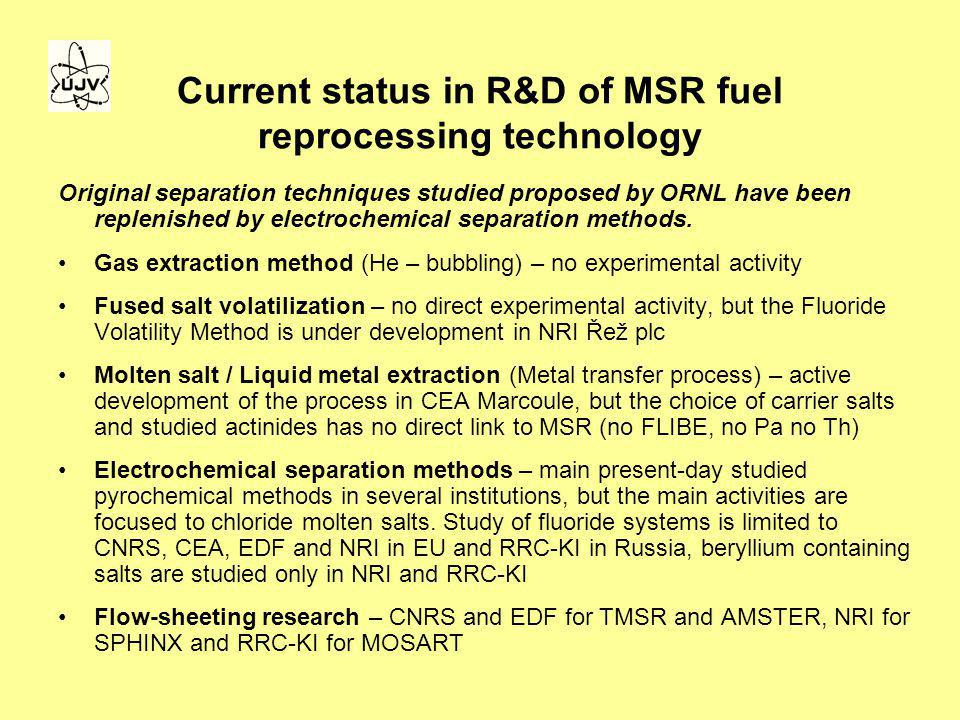 Current status in R&D of MSR fuel reprocessing technology