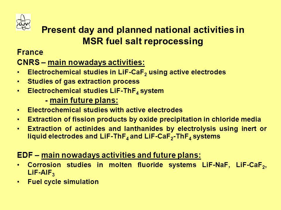 Present day and planned national activities in MSR fuel salt reprocessing