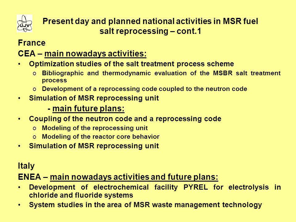 CEA – main nowadays activities: