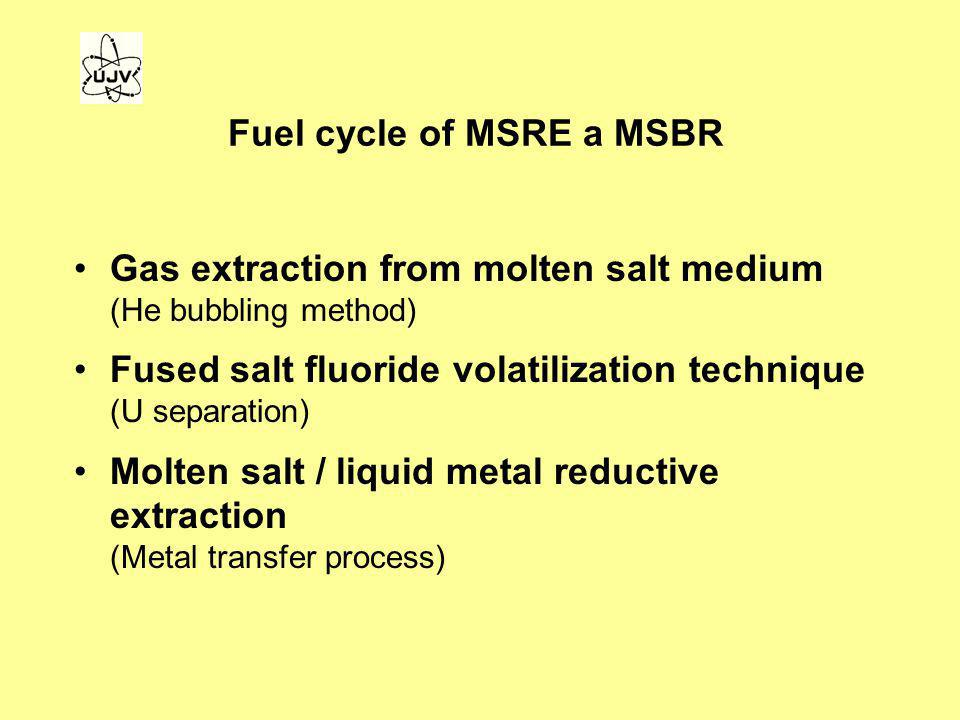 Fuel cycle of MSRE a MSBR