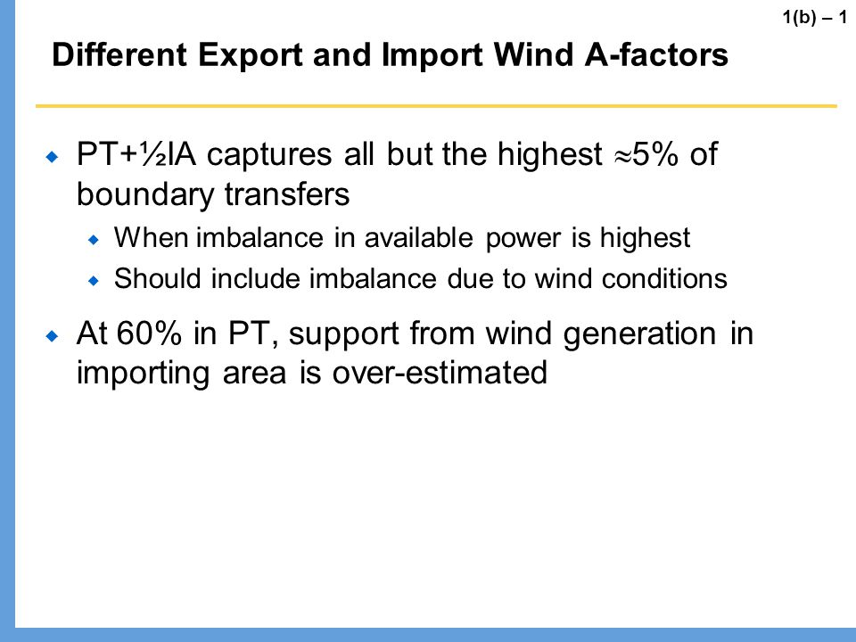 Different Export and Import Wind A-factors
