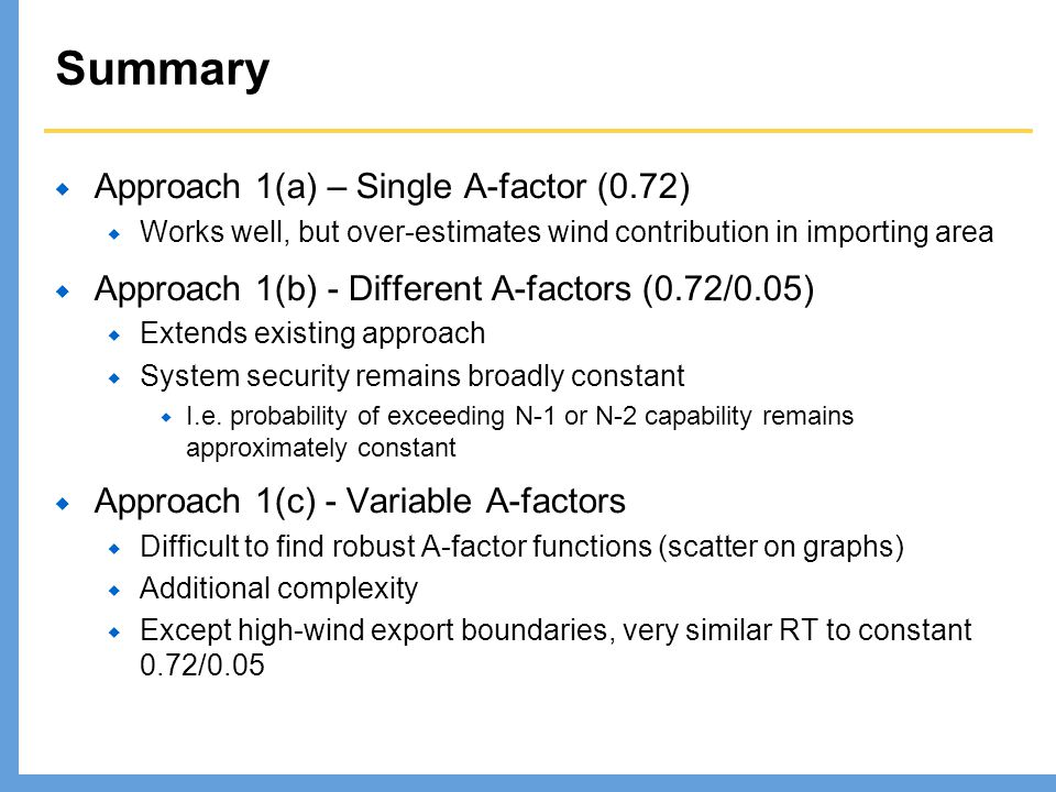 Summary Approach 1(a) – Single A-factor (0.72)