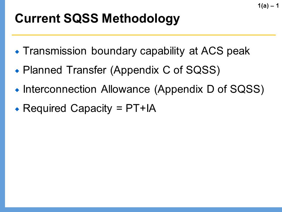 Current SQSS Methodology