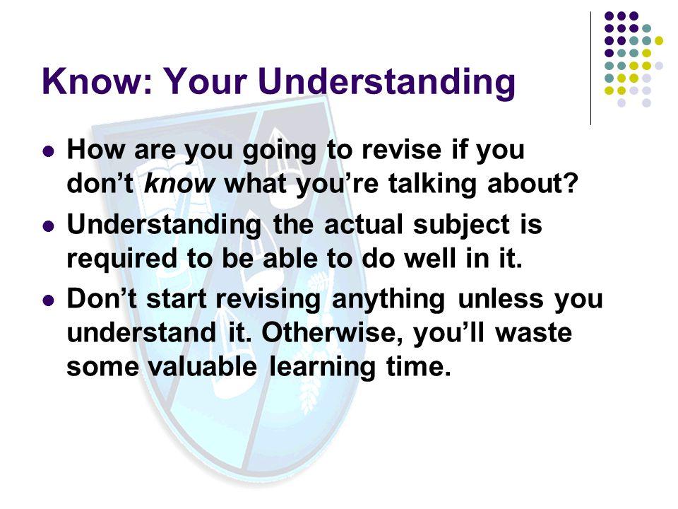 Know: Your Understanding