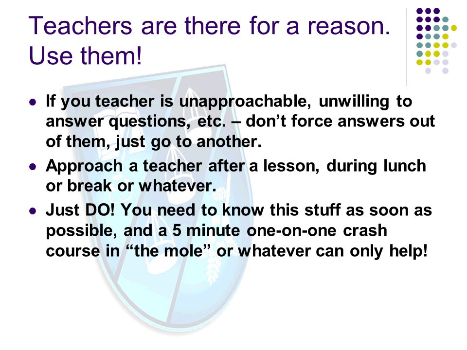Teachers are there for a reason. Use them!