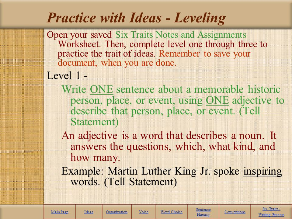 Practice with Ideas - Leveling