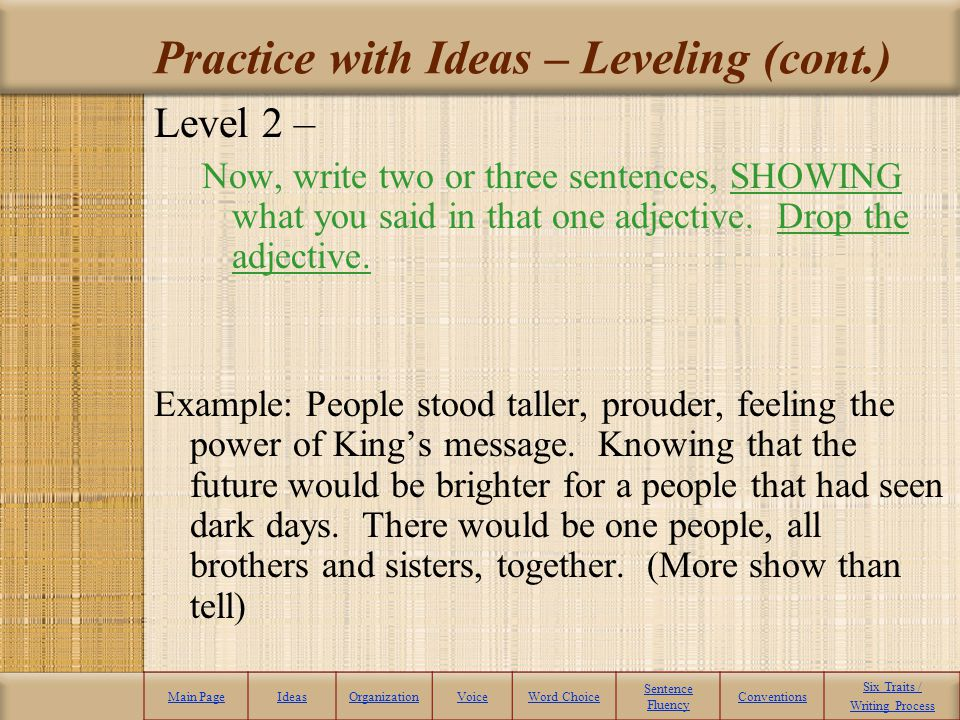 Practice with Ideas – Leveling (cont.)