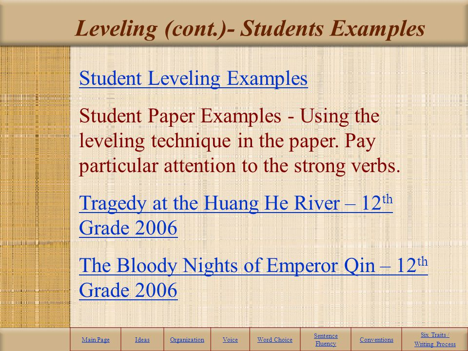 Leveling (cont.)- Students Examples