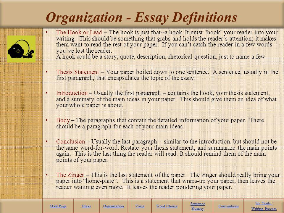Organization - Essay Definitions