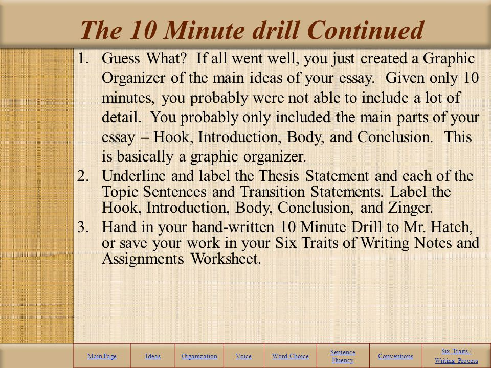 The 10 Minute drill Continued