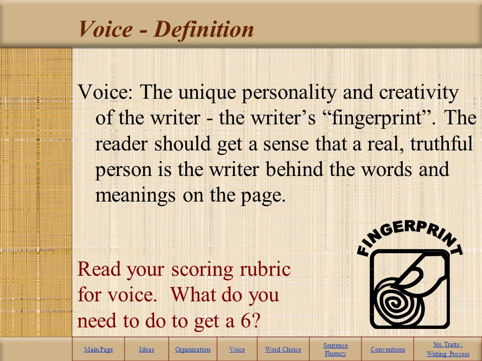Voice - Definition FINGERPRINT