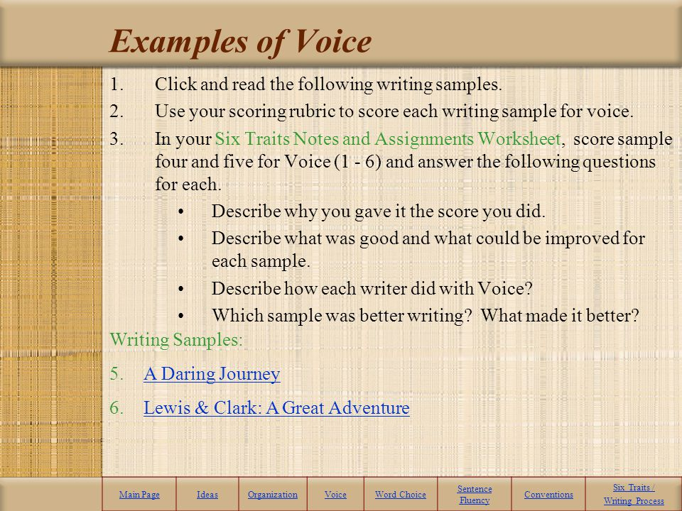 Examples of Voice Click and read the following writing samples.
