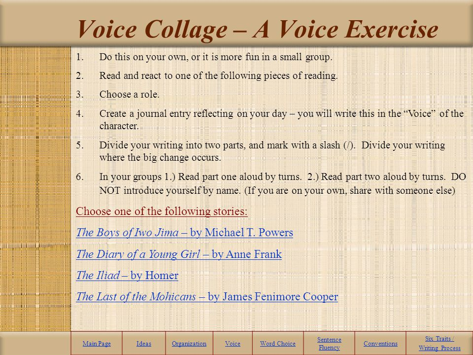 Voice Collage – A Voice Exercise