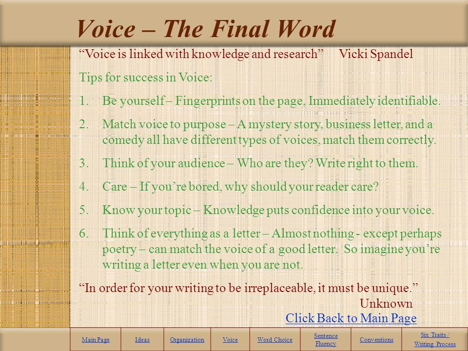 Voice – The Final Word Voice is linked with knowledge and research Vicki Spandel. Tips for success in Voice: