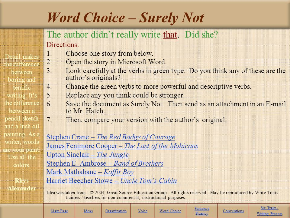 Word Choice – Surely Not