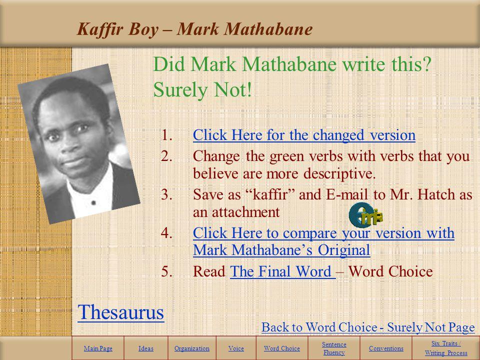 Kaffir Boy – Mark Mathabane