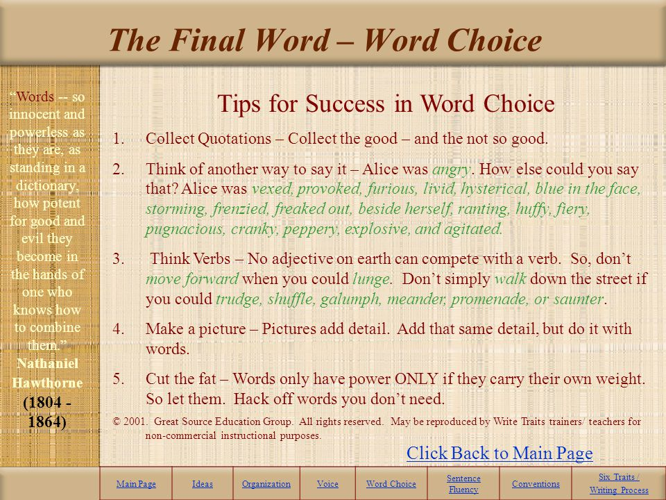 The Final Word – Word Choice