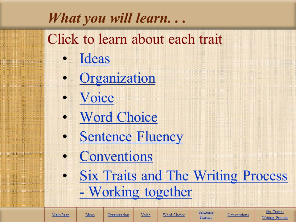 Click to learn about each trait Ideas Organization Voice Word Choice