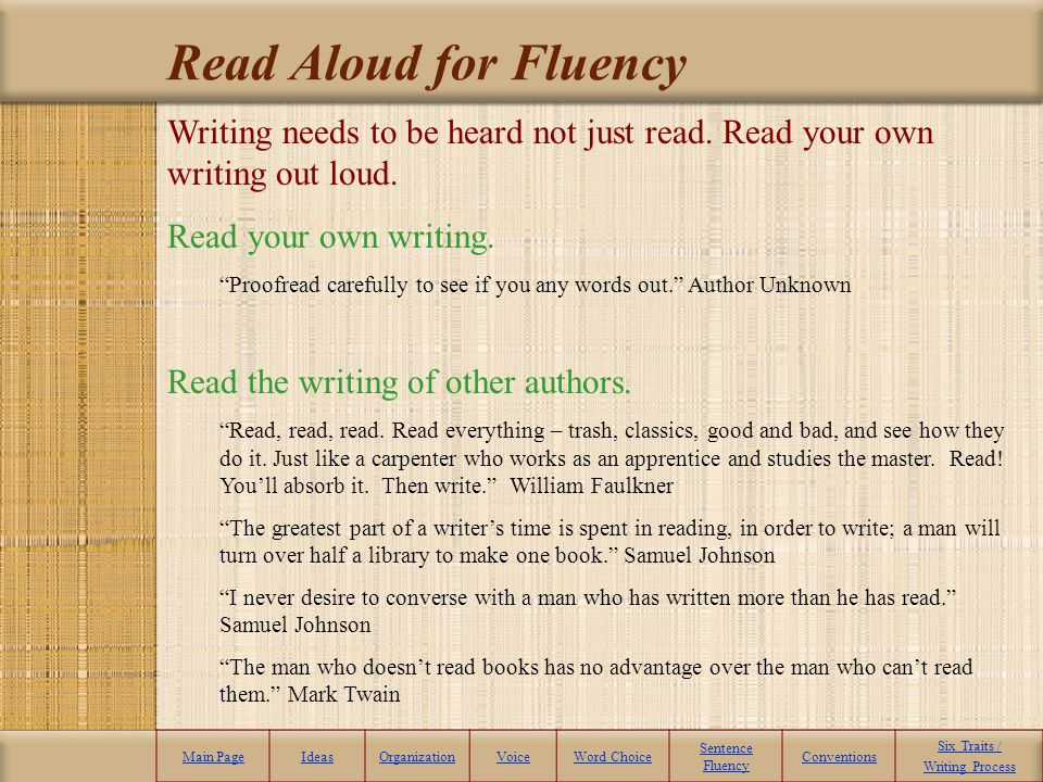 Read Aloud for Fluency Writing needs to be heard not just read. Read your own writing out loud. Read your own writing.