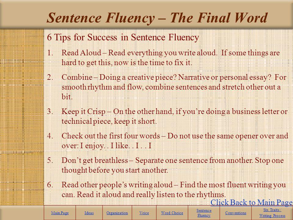 Sentence Fluency – The Final Word
