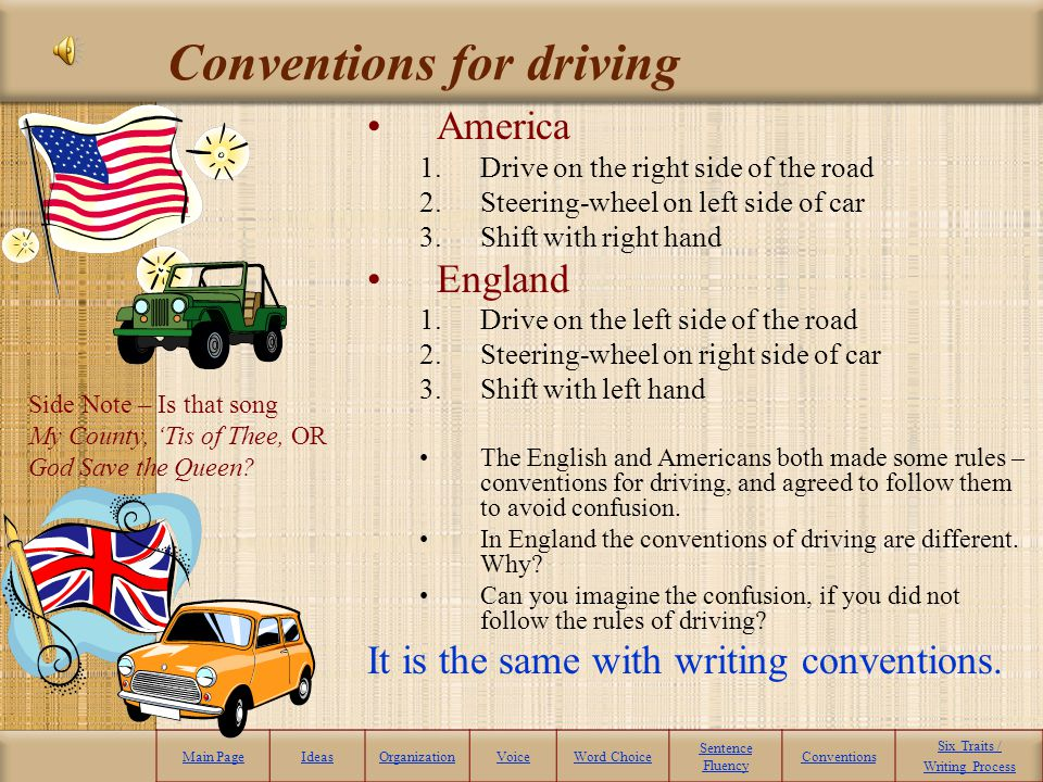 Conventions for driving