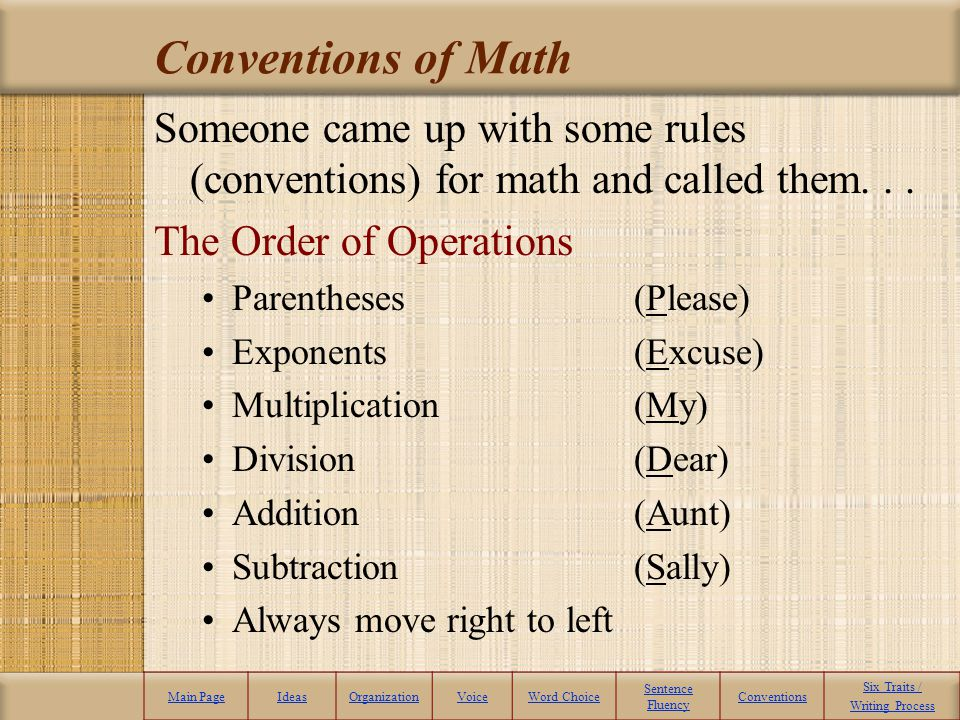Conventions of Math Someone came up with some rules (conventions) for math and called them. . . The Order of Operations.
