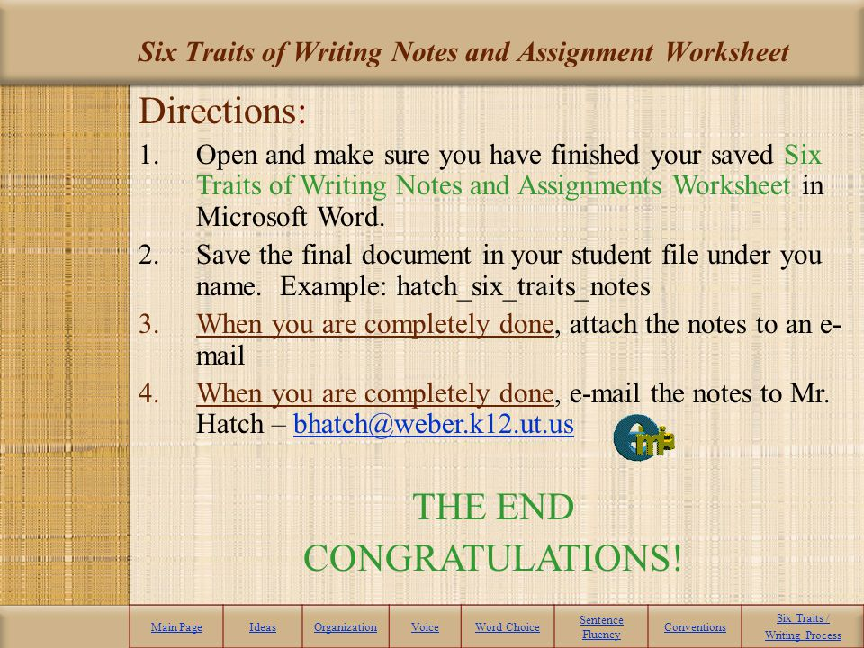 Six Traits of Writing Notes and Assignment Worksheet