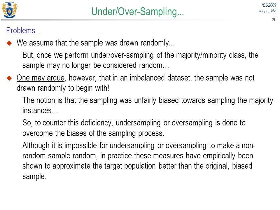 Under/Over-Sampling... Problems…
