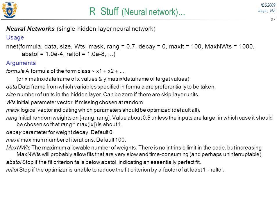 R Stuff (Neural network)...